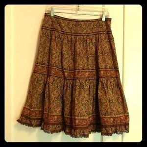 Cienpor Cientif Brown Ruffled Sparkle Swing Skirt
